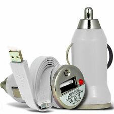 White Single Port USB Car Charger & Flat Data Cable For Binatone M250 Big Button