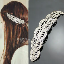 Victorian Silver Leaf Feather Filigree Updo Hair Dress Snap Barrette Pin Clip