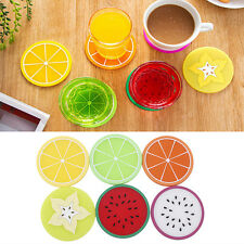 6pcs Fruit Coaster Colorful Silicone Cup Drinks Holder Mat Tableware Placemat