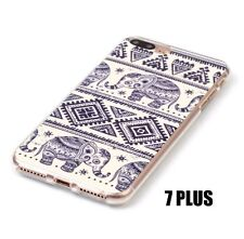 For iPhone 7+ Plus  - TPU RUBBER GUMMY CASE COVER BEIGE BLACK TRIBAL ELEPHANTS