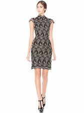 Alice and Olivia Marya Scalloped Hem Black and Gold Sz 4 Dress New
