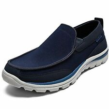 New SKECHERS USA Superior Faris Navy Men's slip-on Loafers Shoes Size 8 (M)