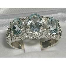 STERLING SILVER LARGE 2.32CT AQUAMARINE TRILOGY RING