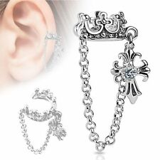 Crown with Chain and Clear CZ Set Cross Dangle Non Piercing Ear Cuff Single