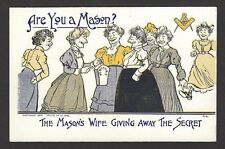 Are You a Mason ? The Mason's Wife Giving Away the Secret vintage postcard