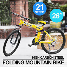 Men/Women Folding Mountain Bike MTB Bicycle 21-Speed Off-road High Carbon Steel