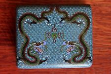 FINE Old Vintage Chinese Cloisonne Double Dragon Flaming Pearl Table Snuff Box