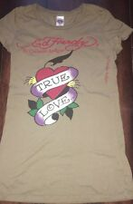 ED HARDY by christian audigier  olive green women's graphic T shirt SZ/XS