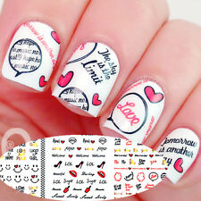1Sheet Nail Art Water Decal Stickers Ongle Autocollant Bowknot Lip cœur nuage