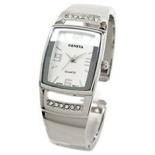 Geneva Silver Metal Crystal Band Square Face Fancy Women's Bangle Cuff Watch