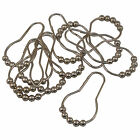 Set of 12 Brushed Nickel Bathroom Shower Curtain Rings Hooks with Roller Balls