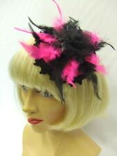 1920's / 1930's / 1940's Mini Hat ~  Pink and black ~ Fascinator ~ Showgirl ~ A