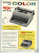 1957 PAPER AD 2 Sided Royal Royalite COLOR Portable Typewriter Companion