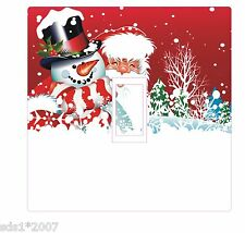CHRISTMAS LIGHT SWITCH COVER STICKER DECAL HD DIGITAL PRINTED SANTA & SNOWMAN