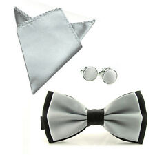 Men Fashion Satin Bow Tie Bowtie Handkerchief Pocket Square Hanky Cuff Link Set