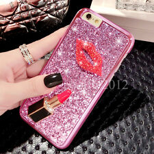 Girly Diamond Sparkle Bling Glitter TPU Soft Case Lips Kiss Cover For Phones
