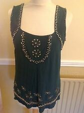 STUNNING SPOTLIGHT BY WAREHOUSE GREEN SILK HEAVILY BEADED TOP UK SIZE10 WORN