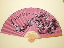 "NEW ORIENTAL BAMBOO PINK WALL FAN WTH WHITE CHERRY BLOSSOM FLOWERS 60"" X 35"""