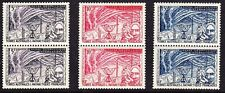 FRANCE - F.S.A.T. #8-10 MINT NEVER HINGED PAIRS 1957 , CV$34.00 GE70
