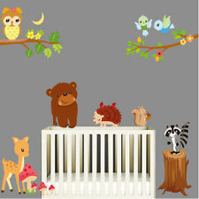 Animal Wall Stickers Owl Jungle Deer Tree Nursery Baby Room Vinyl Decal Kids Art
