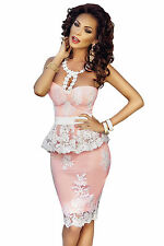 Abito aderente ricamato Scollo Pizzo Cerimonia Party Lace Crochet Peplum Dress M