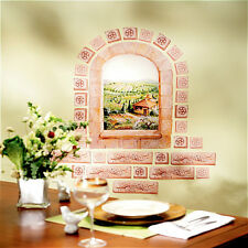 WALLIES TUSCAN WINDOW wall stickers MURAL 31 decals Italy bricks scenic decor