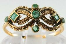 UNUSUAL & DELIGHTFUL ART DECO INSP EMERALD MASK RING FREE RESIZE