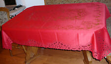 Heritage Lace Rectangular Polyster Red Tablecolth Battenburg Design 70 Round(353