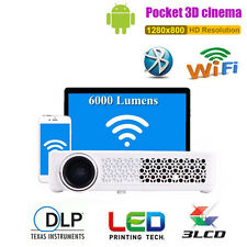 6000Lumens Android Full HD 1080P 4K DLP 3D Video Home Cinema Projectors HDMI USB