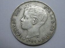 1900 * 19 - 00  ALFONSO XIII , 1 UNA PESETA SPANISH SPAIN COIN SILVER