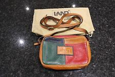 Vintage Brown/Red/Blue/Green Leather Handbag by Land