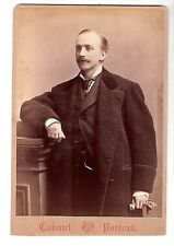 cabinet card photo dapper, wealthy, young man, mustache, ring, Cleveland, OH.