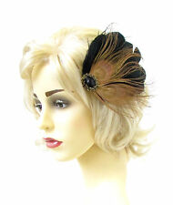 Black Bronze Gold Peacock Feather Fascinator Vtg Hair Clip Headpiece 1920s 562