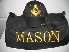 Black Mason Freemasons Freemason Utility Duffle Sports Travel Bag Hat Gift Set
