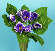 Pick One Large Purple African Violet Gloxinia Artificial Faux Silk Flower Bush
