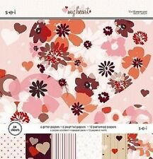 """s.e.i WITH ALL MY HEART Paper Pad / Stack 12""""x 12"""" 24 sheets CLEARANCE PRICE"""