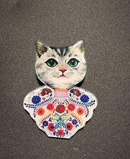 Quirky Tabby Grey Cat Wears Floral Bohemian Gipsy Top Funky Acrylic Brooch