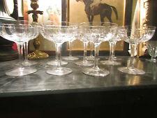 9 anciennes grandes coupes champagne vin cristal taillé art deco 1940 st louis