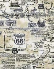 Timeless Treasures Novelty C7529 Natural Route 66 Map  BTY Cotton Fabric