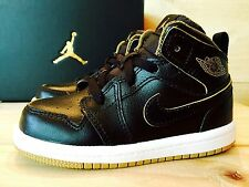 NIKE AIR JORDAN 1 Retro Mid BLACK + METALLIC GOLD Toddler Boys Kids Shoe Size 7