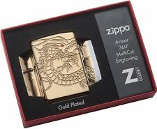 Zippo Armor Multi-Cut Chinese Dragon Gold Plated Choice Lighter 29265 New In Box