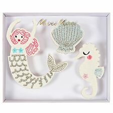 Mermaid Brooches Set of 3 Fabric Pins Badges Gift Jewellery Sea Horse Shell Cute
