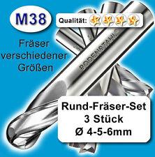 Rundfräser-Satz D=4+5+6mm Schaftfräser für Metall Holz hochleg. Qualität