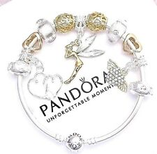 Authentic Pandora Silver Bangle Bracelet with White Love Angel European Charms