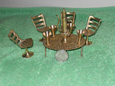 Doll House Furniture Vintage 10 Piece Brass Dining Room Table Chairs Coffee Set