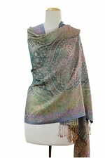 Indian Wool Silk Shawl Paisley Floral Colorful Artisan Crafted NOVICA India