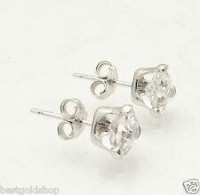 2ct 6mm Clear Trillion Cut Stud Earrings Push Back Real 925 Sterling Silver