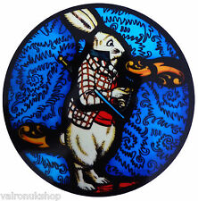STAINED GLASS WINDOW ART STATIC CLING ALICE IN WONDERLAND - THE WHITE RABBIT