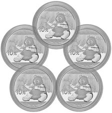 2017 China 10Y 30g Silver Panda - Lot of 5 - GEM BU In Mint Cap PRESALE SKU43868