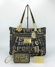 Coach 15301 Poppy Story Patch Glam Large Tote Purse Bag & Coach Wristlet Set